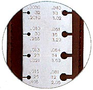 Monsterslayer measuring marking tools pocket wire gauge 3 516 x 1 measures in american standard awg 34 through 8 gauge millimeters and decimal inches for gauging all the popular sizes of greentooth Choice Image