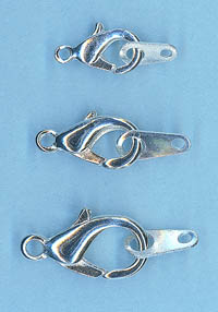Silver Plated Curved Lobster Clasps 12.5mm 10